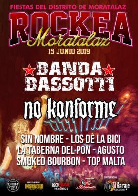 Cartel de Rockea Moratalaz, con banda Bassotti, No Konforme, La taberna del pon, smoked bourbon, top malta, agusto, los de la bici y sin nombre.