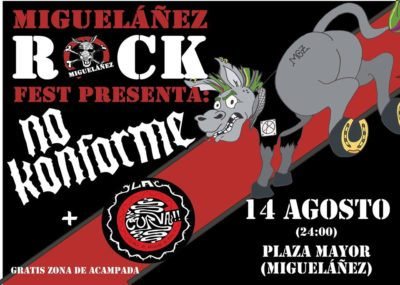 cartel Miguelañez Rock: No Konforme + La Curva en Miguelañez (Segovia) el 14 de Agosto de 2019